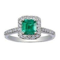 Fancy Diamond & Emerald Halo Ring