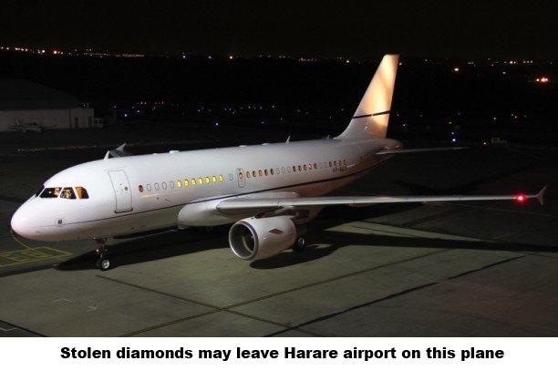 Stolen diamonds may leave Zimbabwe on this plane