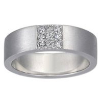 Flat Matte Band with Pave Diamond Square