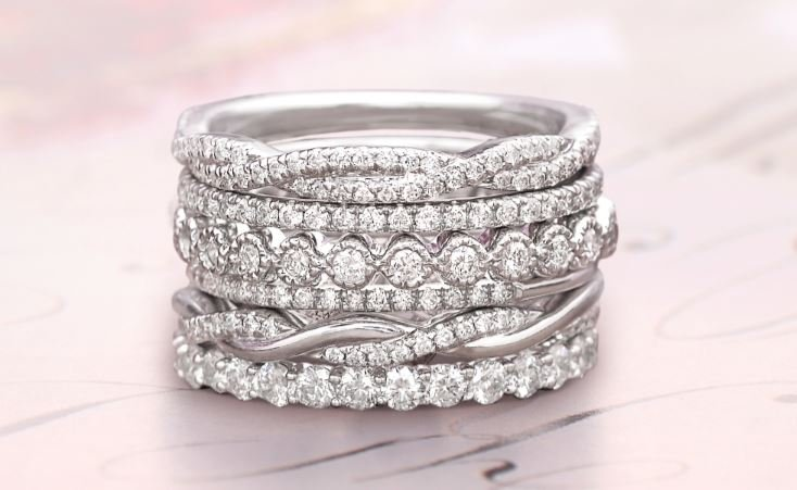 bridal multi wedding cuts halo engagement real unique band ring style diamond multiple rings stone