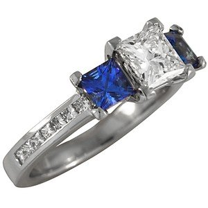 Custom Diamond and Sapphire Princess Trio with Channel Set Band