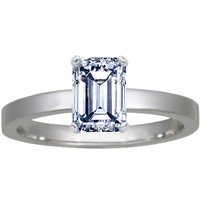 Low Profile Ring with Emerald Cut Diamond