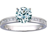 Petite Channel Set Princess Diamond Ring