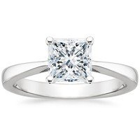 Petite Tapered Trellis Ring with Princess Cut Diamond