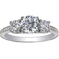 Three Stone Round Diamond Pave Trellis Ring