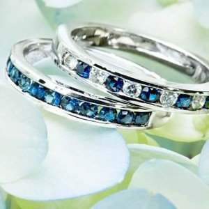 Channel Set Round Diamond and Sapphire Ring