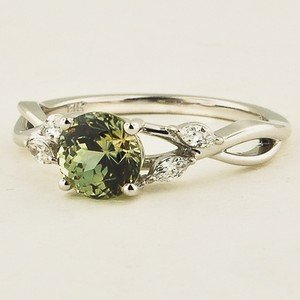 Colored Gemstones. 18K White Gold Sapphire Willow Diamond Ring. Set with  6.0mm Round Light Green ...