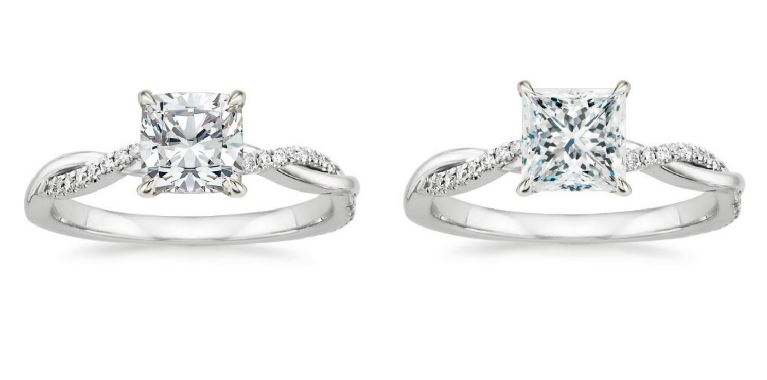 Dazzling Princess Cut Engagement Rings Brilliant Earth