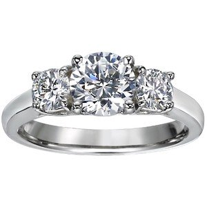 Three Stone Diamond Trellis Ring (over 1/2 ct.tw.)