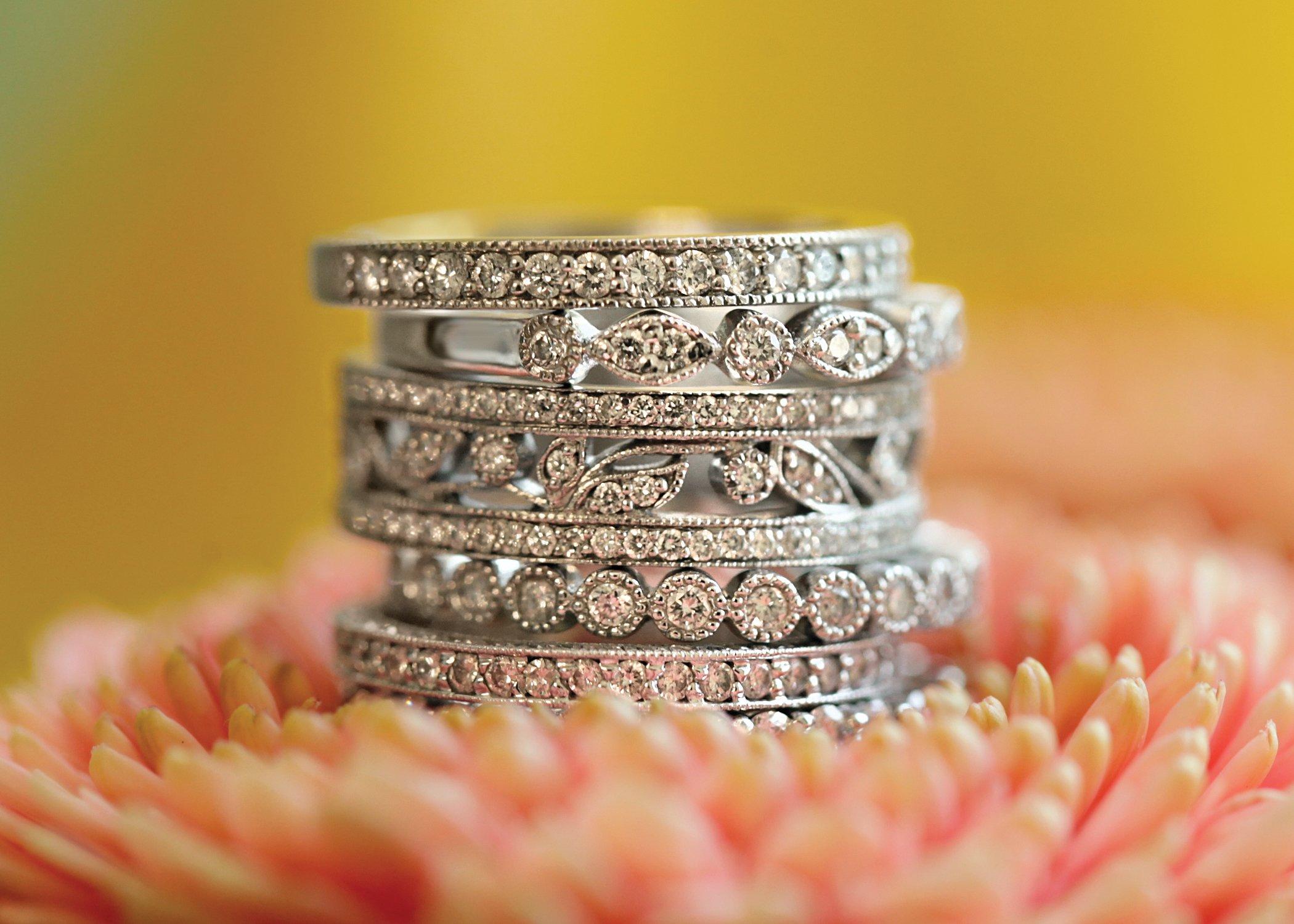 Platinum Diamond Ring Stack