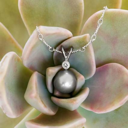 Tahitian Pearl Pendant with Diamond Accent