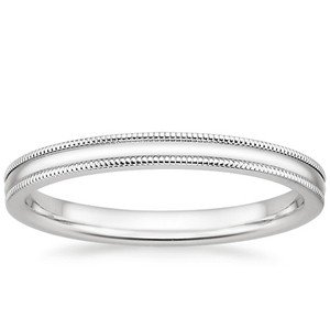White gold milgrain wedding ring