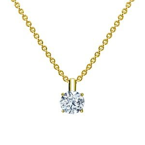 18K Yellow Gold Four-Prong Diamond Pendant