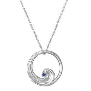 Silver Wave Pendant with Ethically Sourced Blue Sapphire