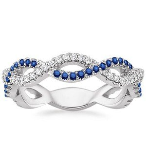 Infinity Ring with Sapphires and Diamonds