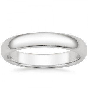 4mm comfort fit men's wedding band white gold