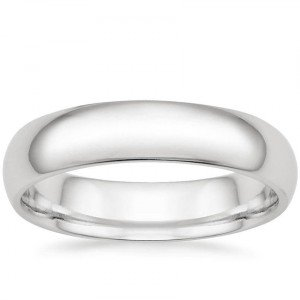 5mm comfort fit white gold men's wedding band