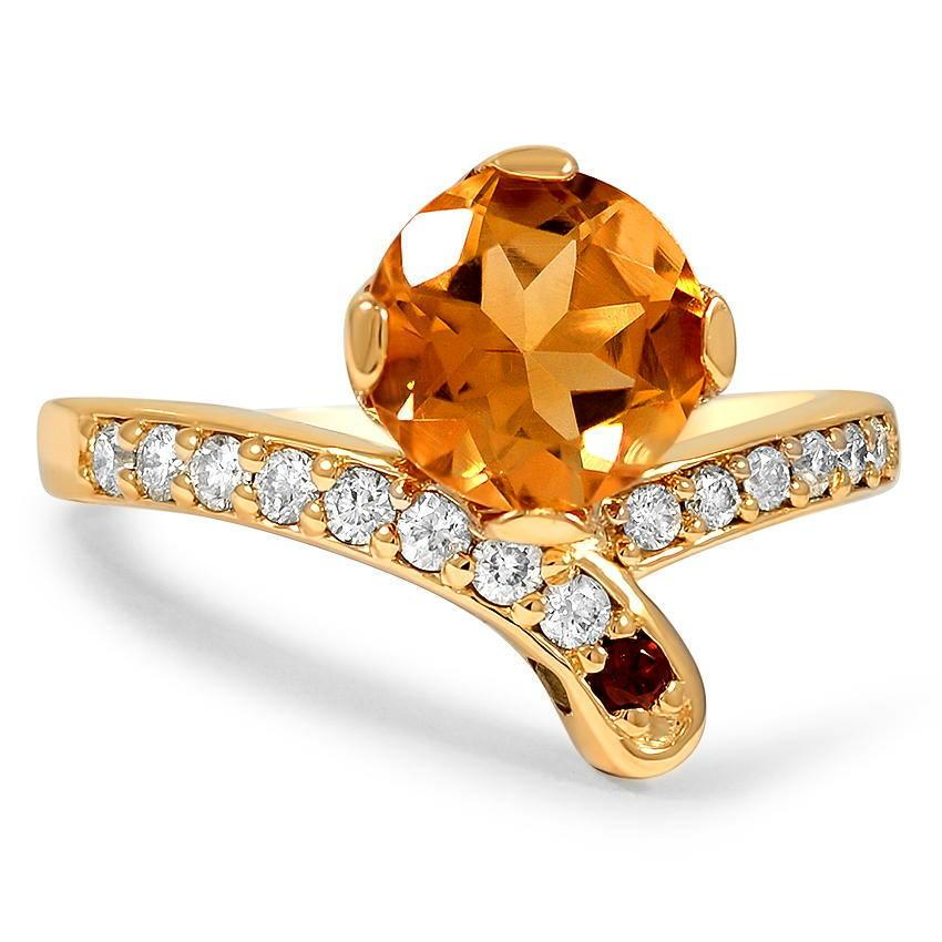 citrine and pave diamond ring with garnet and peridot accents