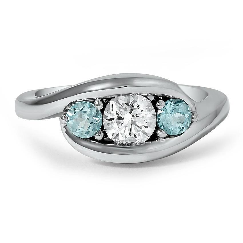 modern diamond three stone ring