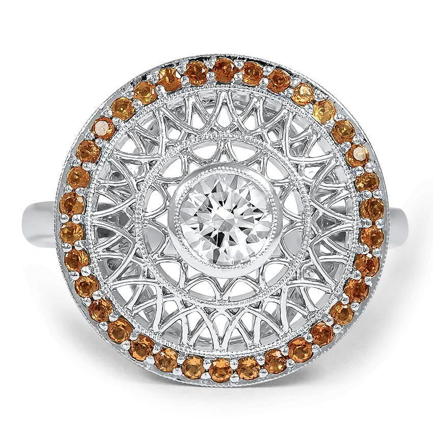 vintage inspired woven circle diamond ring