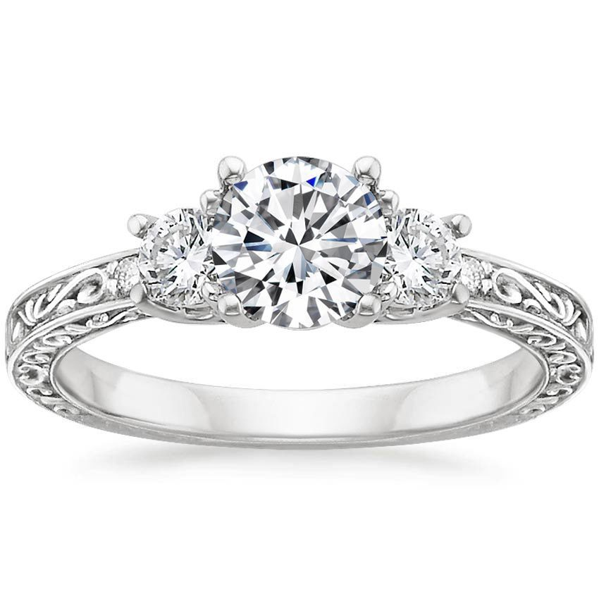 brilliant cut filligree ring and three filigree crown with stone accents rings in available white engagement round