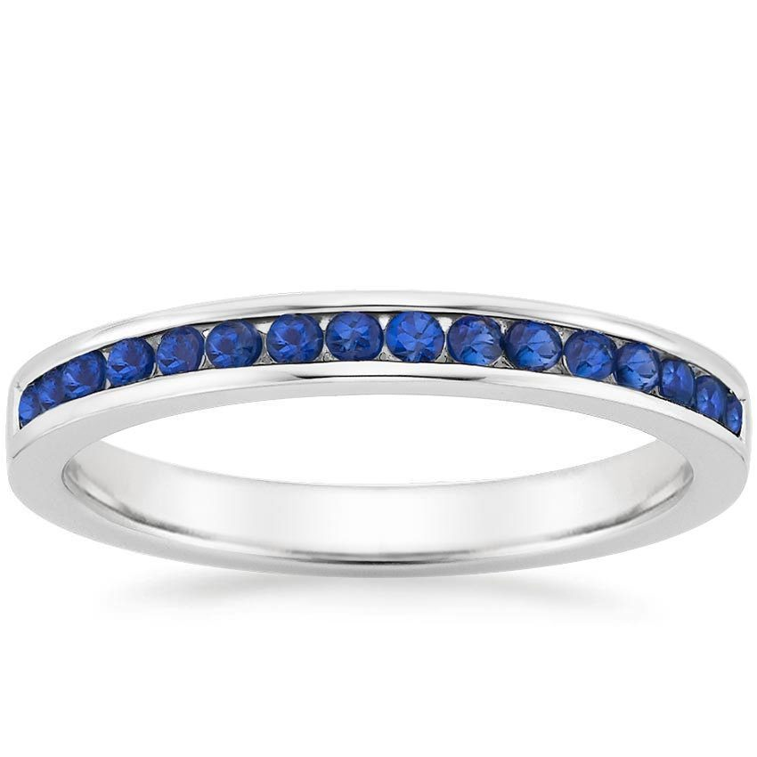 women's petite channel set sapphire wedding band