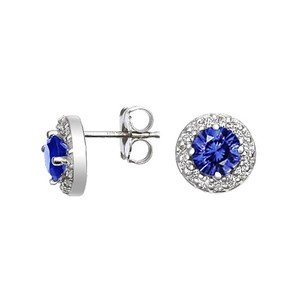 Sapphire Halo Diamond Earrings