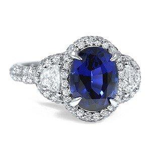 Sapphire Triple Halo Ring
