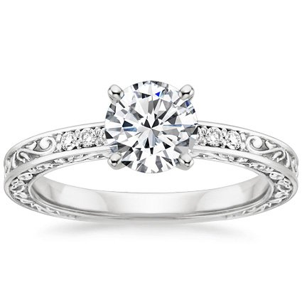 Delicate Antique Scroll Detailed Engagement Ring