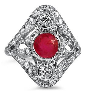 Belina Ruby Art Nouveau Ring