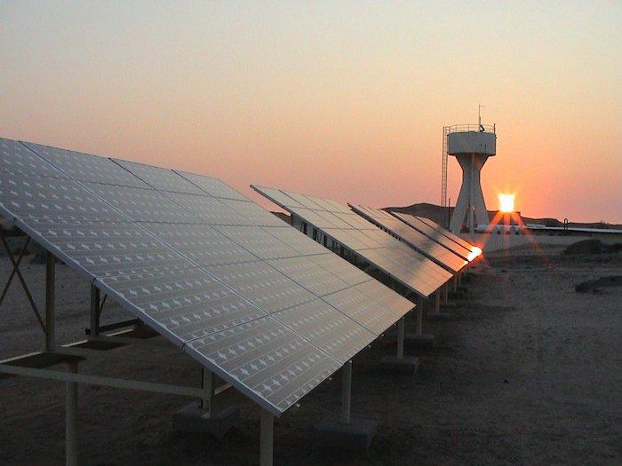 solar panels sunset