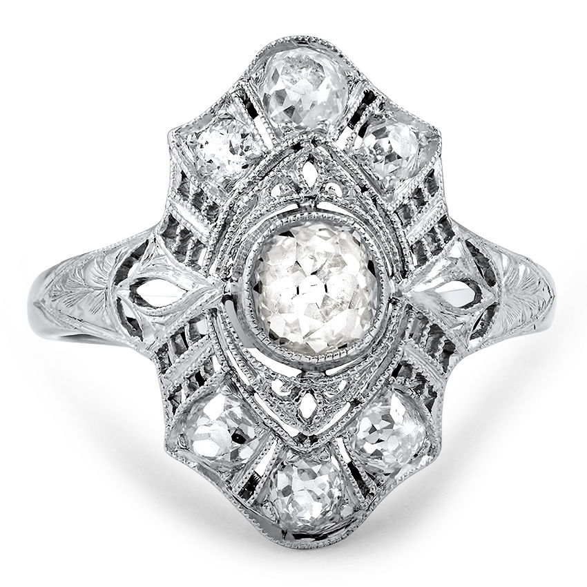 Elnora Vintage Cushion Cut Engagement Ring