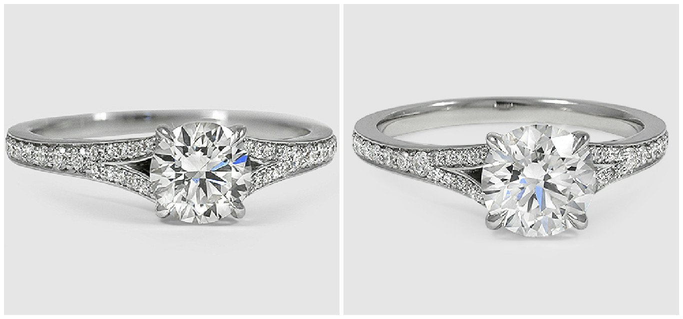 Duet Diamond ring with round lab created diamonds
