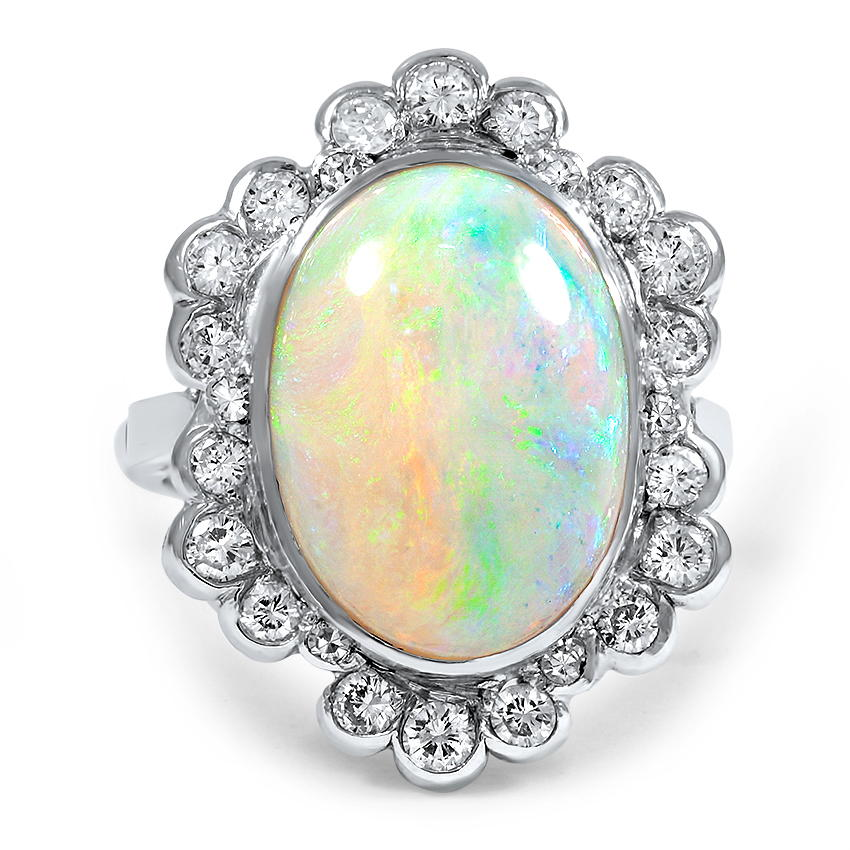 Victorian era vintage halo engagement ring