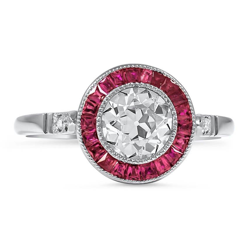 vintage diamond halo engagement ring