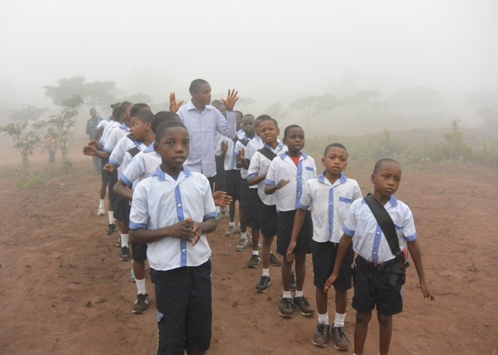 Kids lining up for school