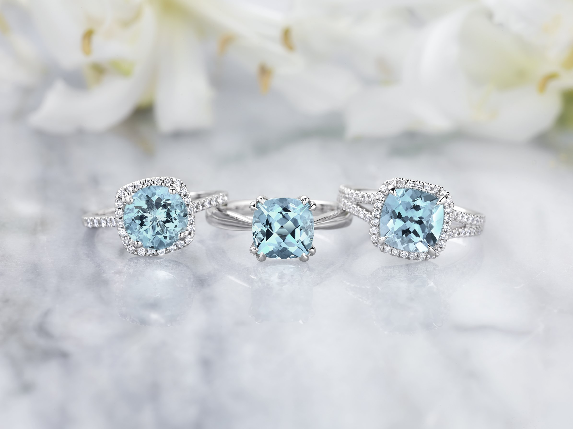 birthstone media natural gold ring split halo shank rings engagement aquamarine wedding white diamond cushion