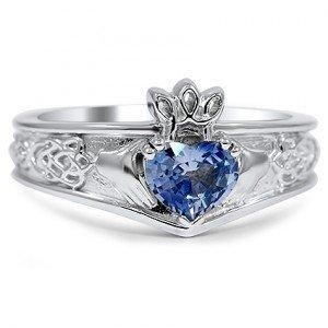 blue sapphire claddagh