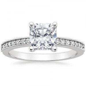 pave milgrain cushion cut