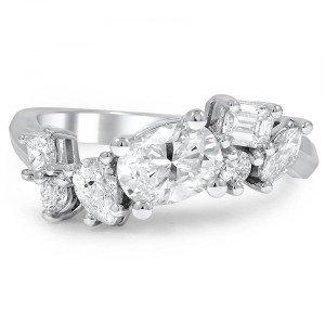 diamond cluster custom wedding ring
