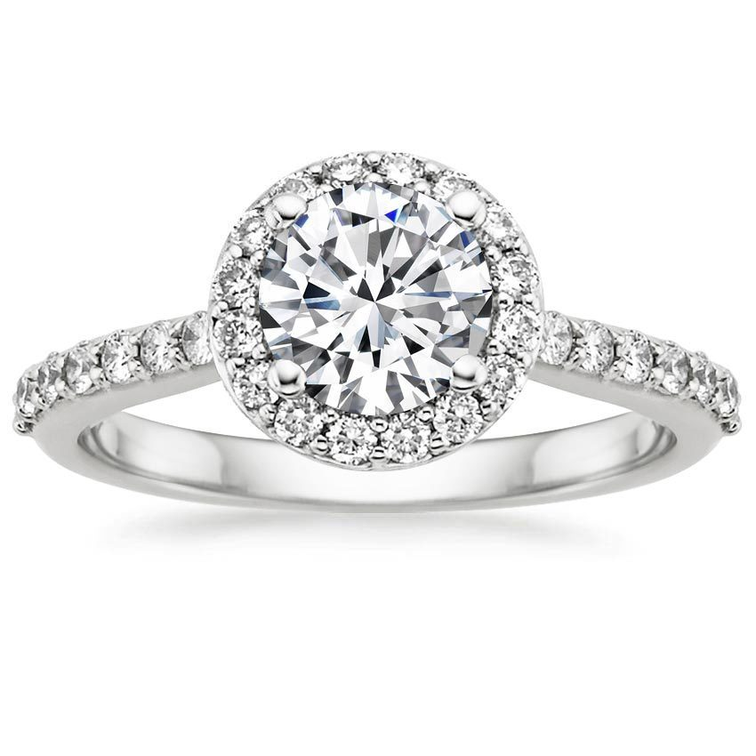 Halo diamond ring with side stones
