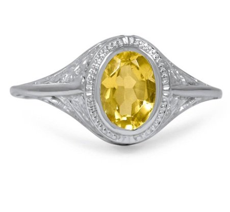 vintage yellow sapphire engagement ring copy
