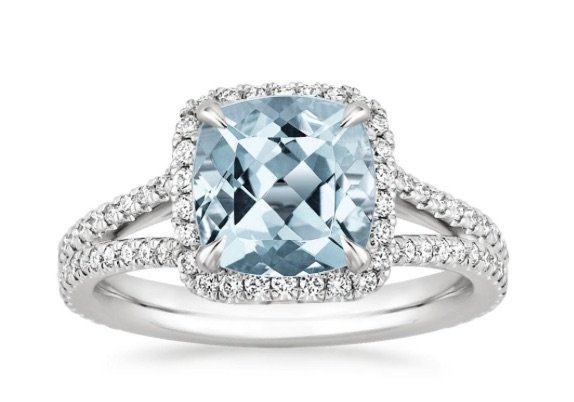 Aquamarine Halo Engagement Ring copy