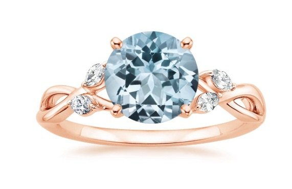 Trending Aquamarine And Rose Gold Engagement Rings