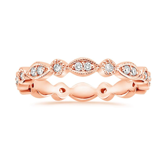 Tiara eternity wedding band in rose gold