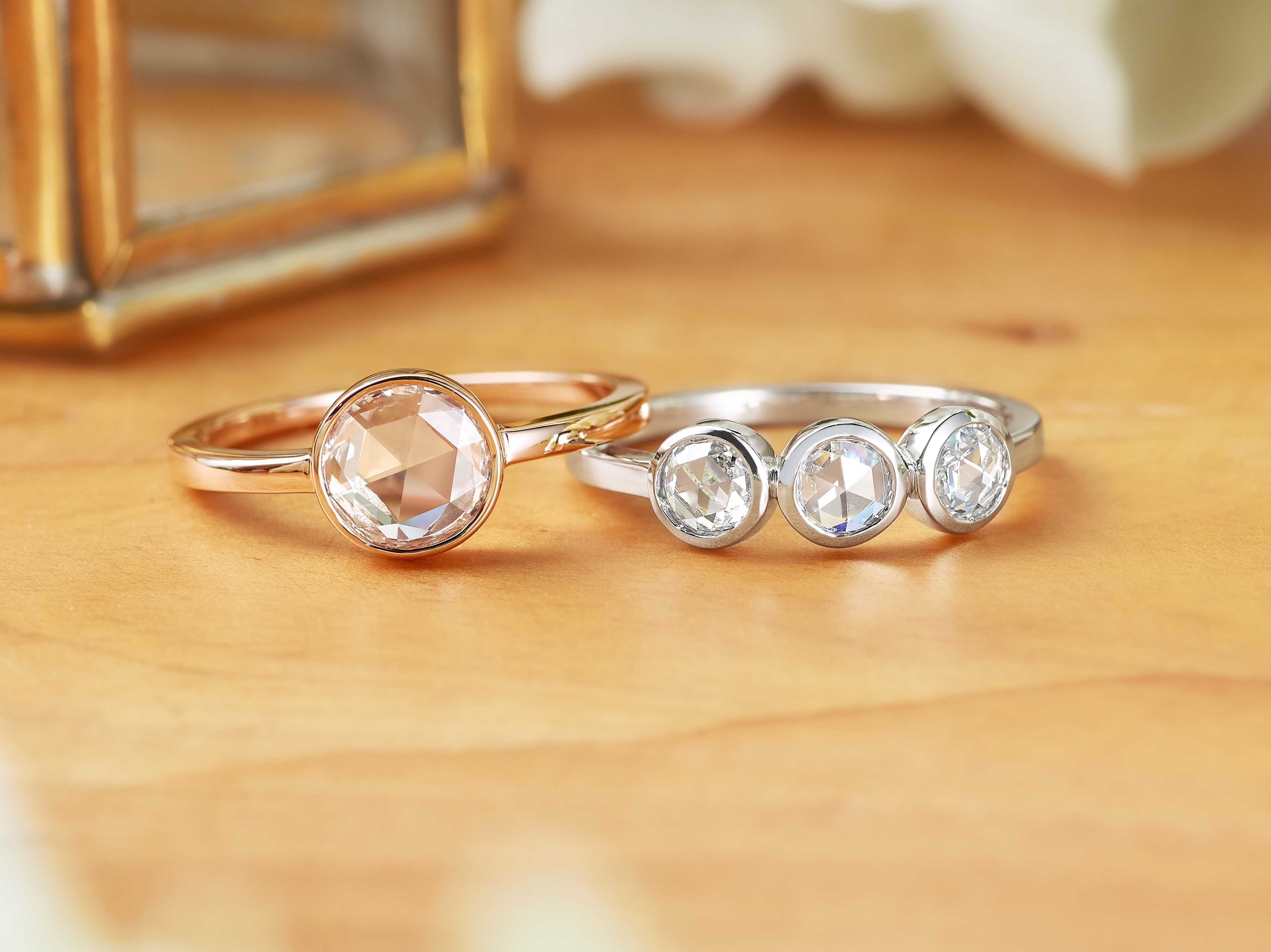 white village yellow ring gold bezel three rose trinity platinum diamond set goldsmith the stone brilliant engagement