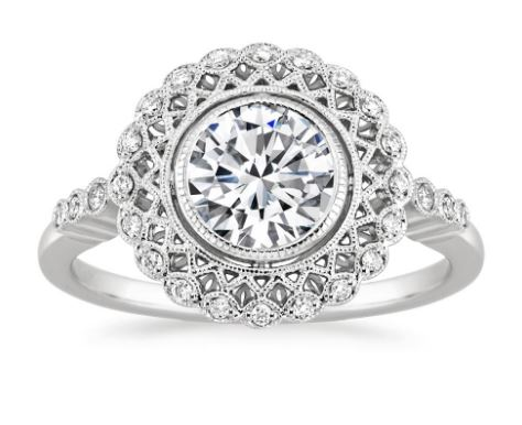 bezel set white gold halo ring