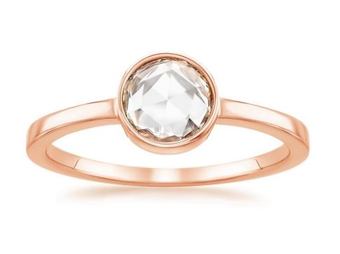 bezel set rose gold rosebud ring