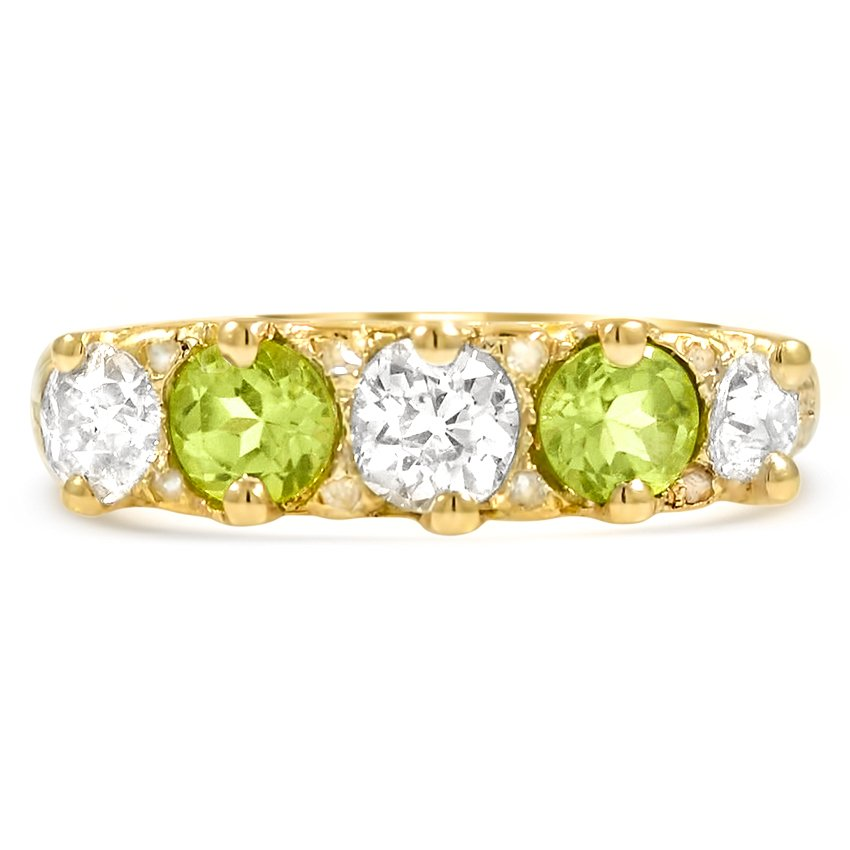 victorian diamond and peridot vintage ring