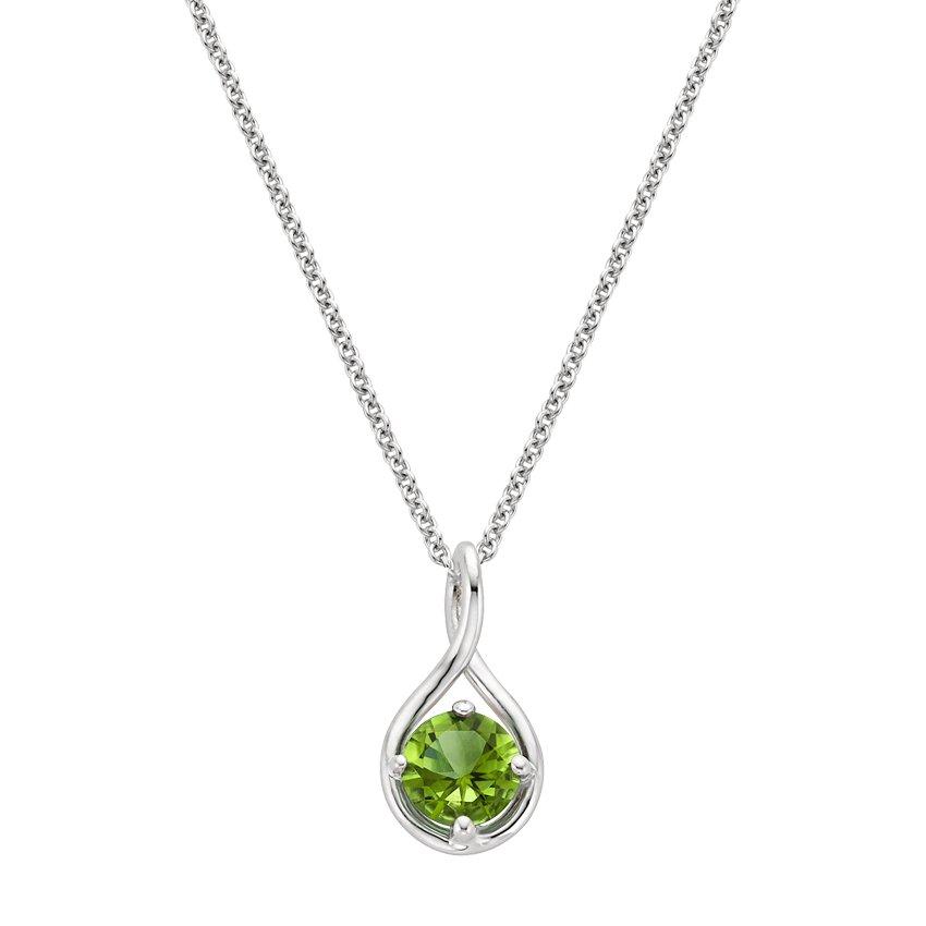 silver twist peridot pendant necklace
